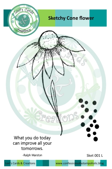 sketchy cone flower stamp package for marketing w overlay for web