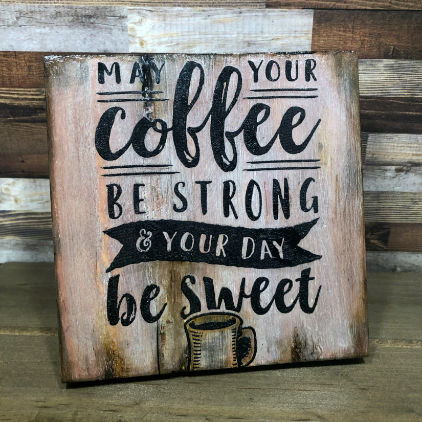 Scorch pen coffee sign