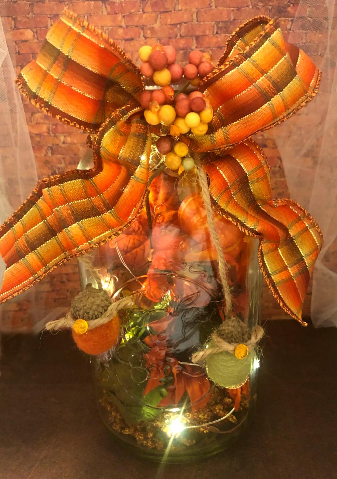 Fall Mason Jar with lights