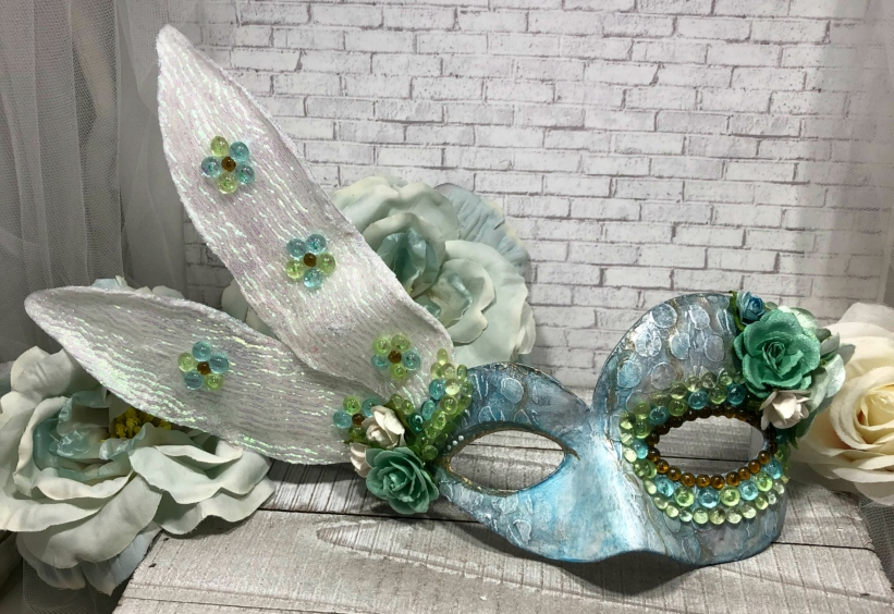 Mystical Dragonfly Mask step 4 Wings and flowers