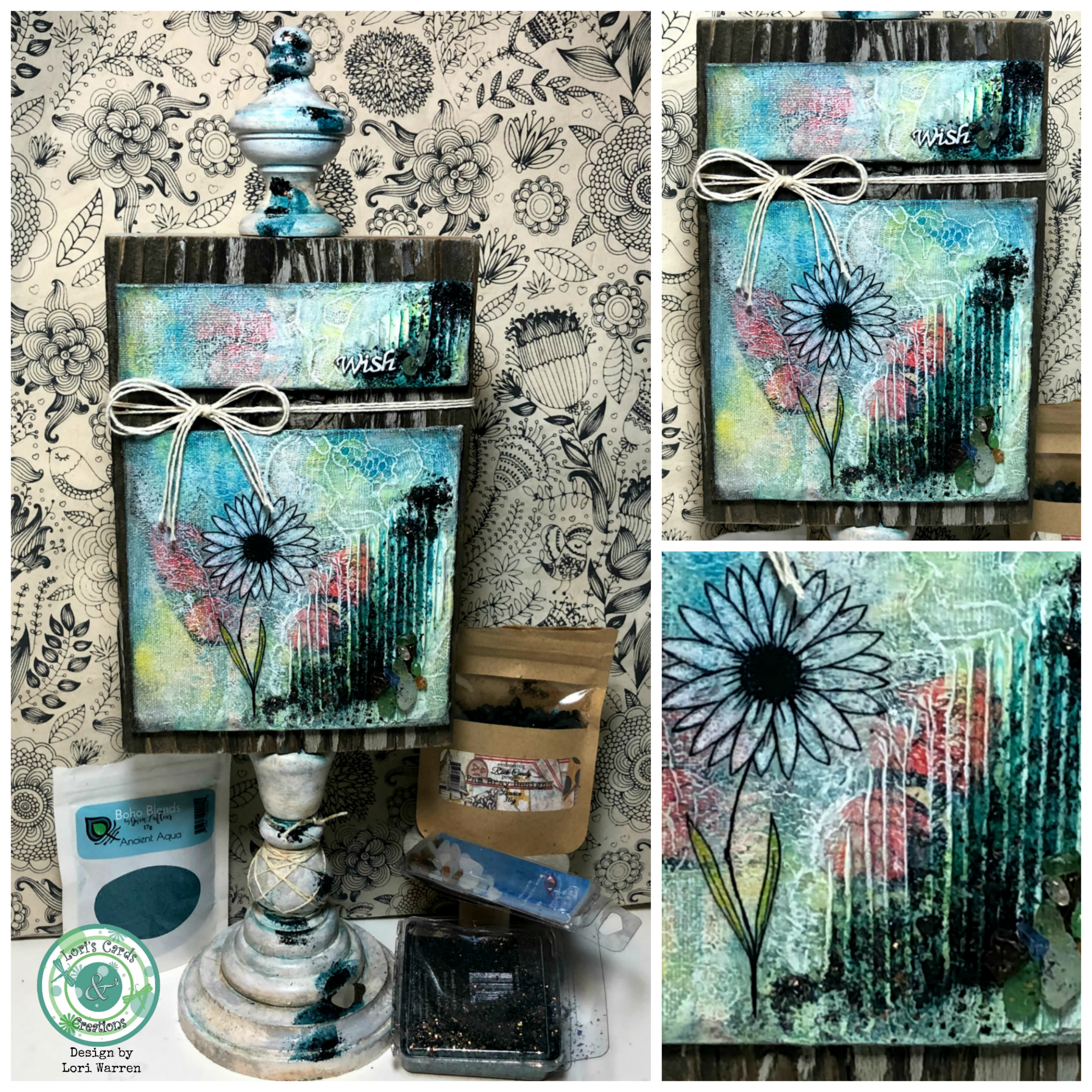 Mixed Media wishes sq collage wm